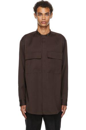 Jil Sander Brown Wool Gabardine Shirt