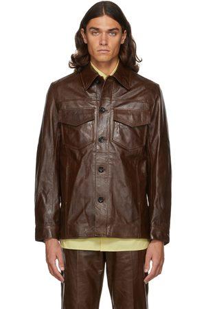 DRIES VAN NOTEN Brown Lash Leather Jacket