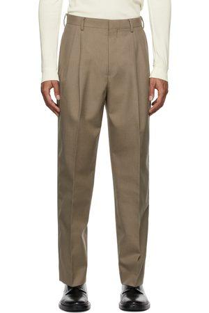 Auralee Men Wide Leg Pants - Bluefaced Wool Wide Slacks Trousers