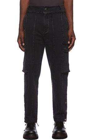 Chen Peng Men Jeans - Black Spray Denim Jeans