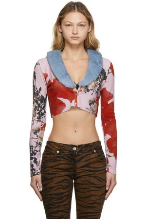 BLUMARINE Women Cardigans - Multicolor Faux-Fur Cropped Cardigan