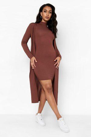 Boohoo Women Party Dresses - Womens Ribbed High Neck Mini Dress & Duster Set - - 4