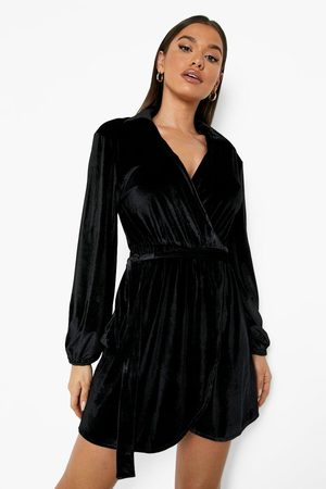 Boohoo Womens Velvet Wrap Collared Mini Dress - - 8