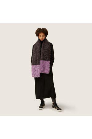 Nooki Teddy Faux Fur Mongolian Colour Block Scarf - Grey Mix