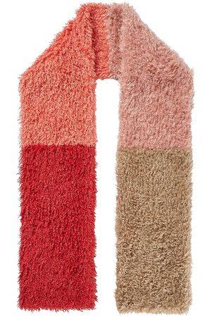 Nooki Women Scarves - Teddy Faux Fur Mongolian Colour Block Scarf - Coral Mix