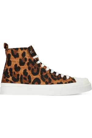 Dolce & Gabbana Leopard Print Lace-up High Sneakers