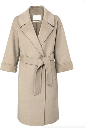 YAYA Women Coats - Long wool-mix coat soft sand