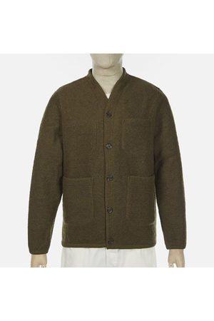 Universal Works Men Fleece Jackets - Wool Fleece Olive Cardigan