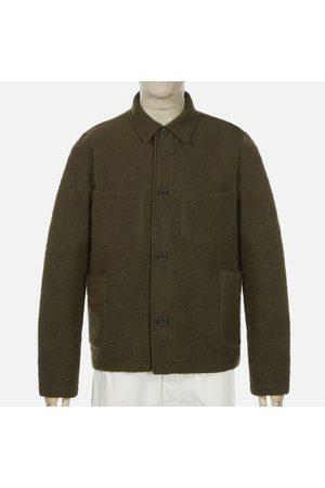 Universal Works Men Fleece Jackets - Wool Fleece Olive Lumber Jacket