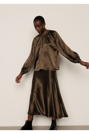 LILY AND LIONEL Helena Top Khaki Silk Satin
