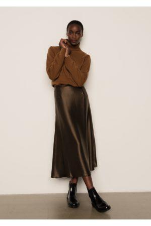 LILY AND LIONEL Women Midi Skirts - Poppy Skirt Silk Satin Khaki