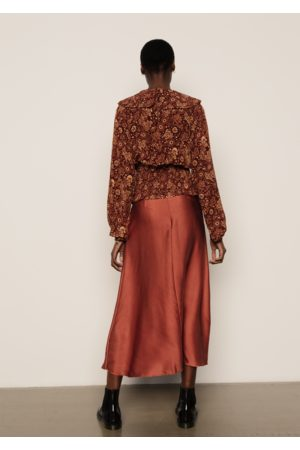LILY AND LIONEL Poppy Skirt Silk Satin Copper