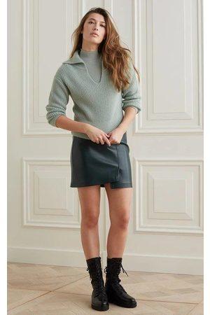 YAYA Women Mini Skirts - Faux leather mini skirt with wrap effect - Darkest Spruce
