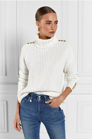 Holland Cooper Hoxton Chunky Knit Roll Neck M, Colour: Natural