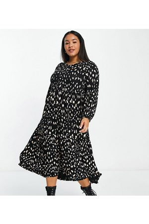 Yours Women Printed Dresses - Balloon sleeve midaxi dress in and white print