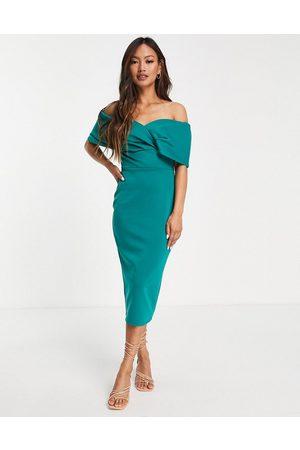 True Violet Women Strapless Dresses - Off shoulder body-conscious midi dress in emerald