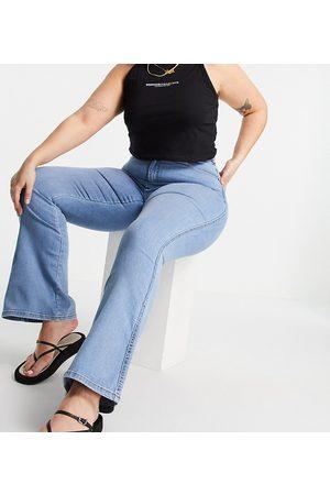Dr Denim Moxy high waist flared jeans in light wash-Blues