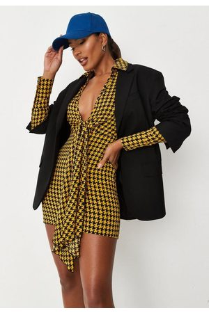 Missguided Houndstooth Plunge Drape Front Shirt Dress