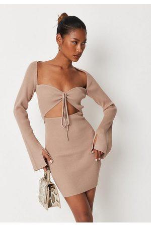 Missguided Tall Sand Bra Cut Out Rib Knit Mini Dress