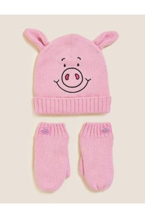 Kids Percy Pig™ Hat and Mittens Set (12 Mths