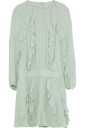 VALENTINO Woman Ruffled Silk-gauze Playsuit Mint Size 40