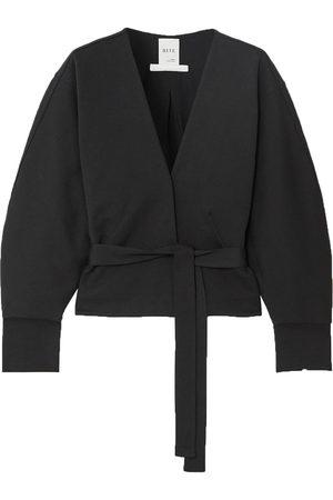 BITE STUDIOS Woman Organic Cotton-blend Jersey Wrap Top Size L