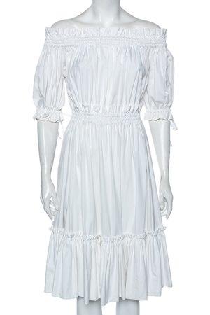 Alexander McQueen Cotton Ruched Tiered Off Shoulder Midi Dress M