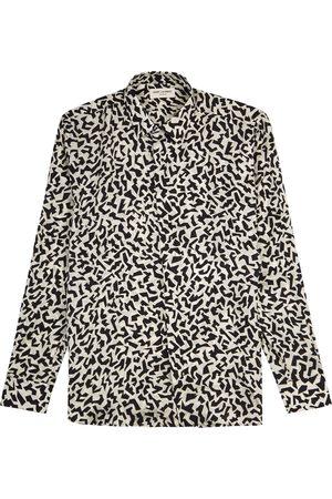 Saint Laurent Monochrome printed silk-jacquard shirt