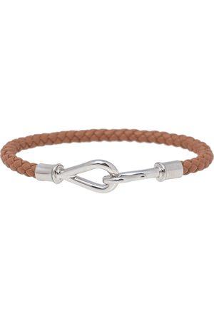 Hermès Braided Leather Palladium Plated Metal Jumbo H Bracelet
