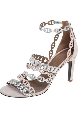Hermès Silver/ Suede And Leather Romy Sandals Size 37