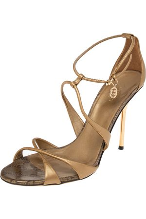 Gucci Leather Criss Cross Ankle Strap Open Toe Sandals Size 39