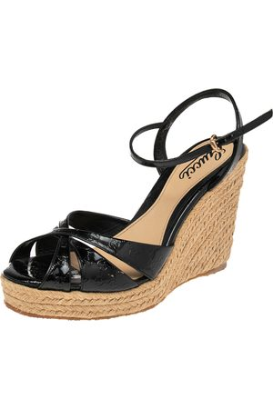 Gucci Micro ssima Patent Leather Penelope Espadrille Wedges Size 38