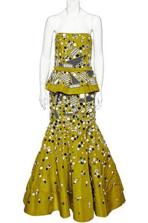 Oscar de la Renta Olive Embellished Silk Belt Detail Strapless Gown L