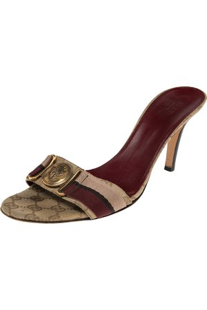 Gucci /Brown GG Canvas Hysteria Slide Sandals Size 41