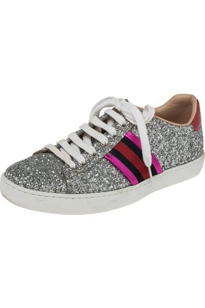 Gucci Glitter And Leather Ace Web Low Top Sneakers Size 36