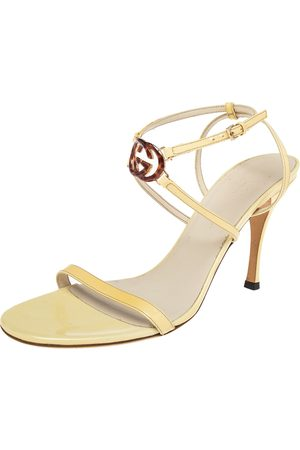 Gucci Patent Leather Tortoise Interlocking GG Strappy Sandals Size 39.5
