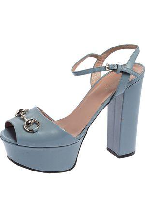 Gucci Leather Horsebit Ankle Strap Platform Sandals Size 35