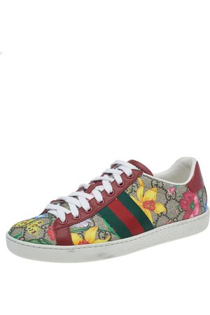 Gucci GG Flora Supreme Canvas And Leather Ace Low Top Sneakers Size 35.5