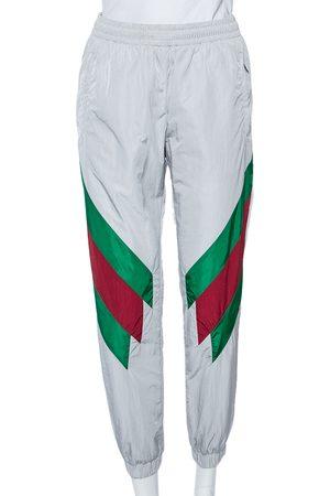 Gucci Light Grey Synthetic Diagonal Web Stripe Detailed Joggers XS