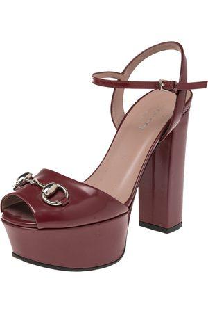 Gucci Burgundy Leather Claudie Horsebit Peep Toe Platform Sandals Size 35.5