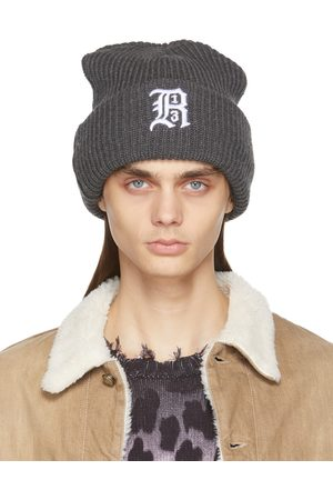 R13 Grey Oversized Embroidery Beanie
