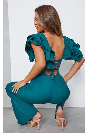 PRETTYLITTLETHING Emerald Lace Back Frill Sleeve Jumpsuit
