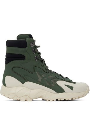 Y-3 Green Notoma Lace-Up Boots