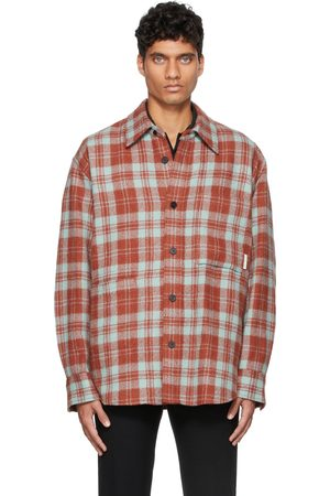 Solid Red & Blue Wool Flannel Over Shirt