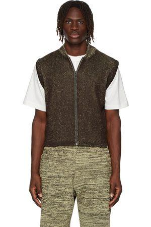 GR10K Men Gilets - Brown & Yellow Knit Vest