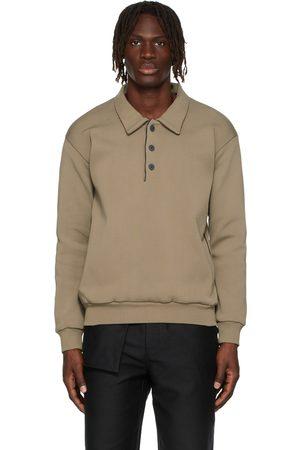 GR10K Men Polo Shirts - Brown Sculpt Rib Long Sleeve Polo