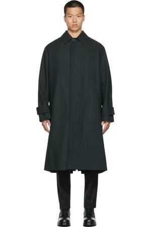 VALENTINO Grey & Navy Tweed Logo Coat