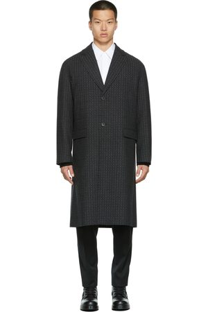 VALENTINO Grey Tweed Logo Coat