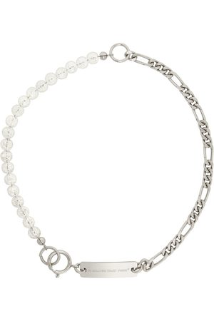 In Gold We Trust SSENSE Exclusive Silver & White Figaro Beads Necklace