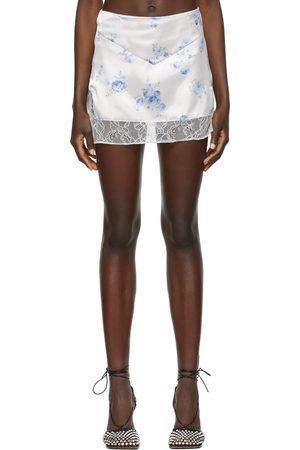 DANIELLE GUIZIO Women Mini Skirts - White Sweet Rose Lace Satin Miniskirt